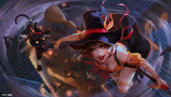 >:d :d animal_ears bat black_boots black_cat boots breasts broom broom_riding brown_hair cat cat_ears cleavage facial_mark from_above ghost_costume green_hair halloween halloween_costume hat highres house jack-o'-lantern league_of_legends lian-oxan_studio long_hair looking_at_viewer nidalee open_door open_mouth orange_eyes outdoors outstretched_arm path realistic red_hair road short_hair smile standing striped striped_legwear thighhighs twintails window witch_hat