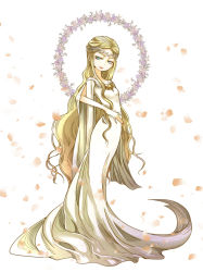 1girl blonde_hair blue_eyes curly_hair dress elf flower galadriel long_hair lord_of_the_rings middle_earth petals pointy_ears queen simple_background solo tiara toriko_(tenawan) very_long_hair white_background