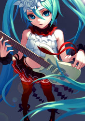 1girl aqua_hair arm_ribbon bangs belt black_panties black_ribbon black_skirt blue_eyes blue_hair blurry crop_top depth_of_field diamond_(shape) electric_guitar fkey flat_chest flower from_above guitar hair_between_eyes hair_flower hair_ornament hatsune_miku headphones highleg highleg_panties highres holding instrument layered_skirt legs_apart lens_flare long_hair looking_at_viewer midriff miniskirt nail_polish navel nisoku_hokou_(vocaloid) orange_nails panties parted_lips project_diva_(series) red_legwear red_nails red_ribbon ribbon shade shoes skirt sleeveless solo standing stomach thighhighs twintails underwear very_long_hair vocaloid white_flower wrist_cuffs