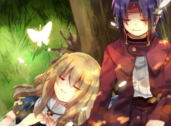 1boy 1girl blonde_hair butterfly chrno_crusade chrono eyes_closed kanasiinezimakineko lying no_headwear purple_hair rosette_christopher sitting smile tree under_tree