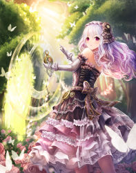 1girl bare_shoulders butterfly chains dress elbow_gloves flower frills gloves hair_ornament highres lolita_fashion long_hair long_skirt looking_at_viewer looking_back lunacle original outdoors purple_eyes purple_hair skirt solo standing sunlight watch white_gloves