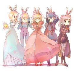 5girls :3 artist_request blonde_hair blue_hair bunny_ears cape carrot crown dress eyes_closed fingerless_gloves fire_emblem fire_emblem:_kakusei hair_over_one_eye hooded_jacket long_gloves looking_at_viewer lucina luma mario_(series) metroid multiple_girls my_unit nintendo ponytail princess_peach rosalina_(mario) samus_aran silver_hair super_mario_bros. super_mario_galaxy super_smash_bros. twintails white_background zero_suit
