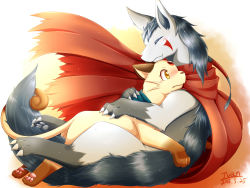 artist_name blush dated eyes_closed highres hug ivan_(ffxazq) mightyena no_humans persian pokemon yellow_eyes