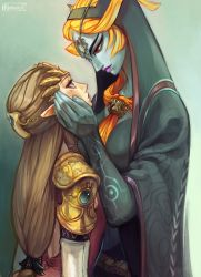 2girls alderion-al blue_skin brown_hair front_ponytail height_difference highres jewelry long_hair makeup midna multiple_girls orange_hair pointy_ears princess_zelda red_eyes size_difference the_legend_of_zelda twili_midna twilight_princess yuri