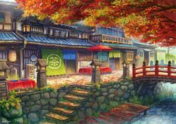2014 autumn autumn_leaves bridge building east_asian_architecture grass kemi_neko lantern no_humans original parasol scenery sign stairs table translated tree umbrella water