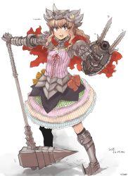 1girl armor berserk brown_hair grunbeld highres idolmaster idolmaster_cinderella_girls long_hair moroboshi_kirari shield sigama skirt smile warhammer weapon