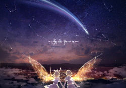 1boy 1girl 2016 alternate_costume arm_at_side arms_at_sides back blonde_hair bow brother_and_sister camisole city cloud constellation english glowing glowing_wings happy_new_year kagamine_len kagamine_rin kinokohime_(mican02rl) low_ponytail mountain new_year night night_sky outdoors pointing shirt shooting_star short_hair short_sleeves siblings single_wing skirt sky sleeveless star_(sky) starry_sky twins upshirt vocaloid white_bow white_shirt white_shorts white_skirt wind wings