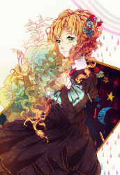 1girl blonde_hair crayon curly_hair dizi930 dress floral_print flower hair_flower hair_ornament highres ib long_hair mary_(ib) tears water_drop