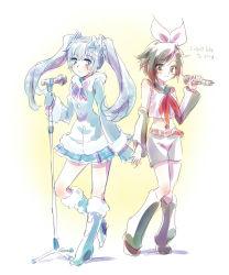 2girls cosplay english hand_holding hatsune_miku highres iesupa kagamine_rin kagamine_rin_(cosplay) microphone microphone_stand multiple_girls ruby_rose rwby vocaloid weiss_schnee yuki_miku yuki_miku_(cosplay)