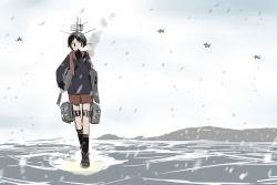 1girl aircraft black_legwear cannon imai_tetsuya kantai_collection kneehighs machinery mogami_(kantai_collection) ocean scarf school_uniform short_hair snowing solo turret