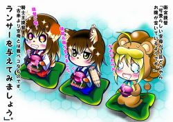 3girls :d ahoge aka_kitsune akagi_(kantai_collection) animal_ears blonde_hair brown_hair chibi crossover cup cushion dog_ears dog_tail drooling fate/stay_night fate/tiger_colosseum fate_(series) female holding kaga_(kantai_collection) kantai_collection kemonomimi_mode long_hair multiple_girls muneate open_mouth saber_lion seiza side_ponytail sitting smile tail teacup translation_request