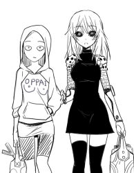 2girls bald black_sclera breasts cyborg dress female female_genos genderswap genderswap_(mtf) genos greyscale groceries hood hoodie long_hair looking_at_viewer monochrome multiple_girls mytyl one-punch_man oppai_hoodie saitama_(one-punch_man) simple_background skirt white_background