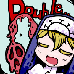 1:1 1girl blonde_hair character_name double_(skullgirls) drooling eyes_closed female monster nun open_mouth skullgirls solo