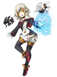 1girl alternate_costume alternate_hairstyle another_code_(elsword) boots caplet elsword eve_(elsword) forehead_jewel gloves official_art short_hair shorts thigh_boots thighhighs white_hair
