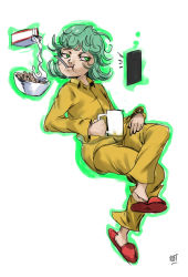 1girl character_request eating one-punch_man phone solo tagme