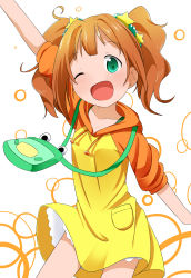 1girl arm_up bag brown_hair collarbone dress frog green_eyes hair_ornament highres hood idolmaster makuran one_eye_closed open_mouth puffy_short_sleeves puffy_sleeves short_sleeves smile solo star takatsuki_yayoi twintails yellow_dress