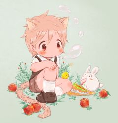 1boy animal_ears apple bird blonde_hair blush brown_eyes bubble bubble_blowing bunny cat_ears cat_tail chick food fruit male_focus original sandwich tail