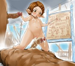 1girl 2boys :o aftersex blush braid breasts breath brown_hair clitoral_hood clitoris cum cum_in_pussy cum_on_body cum_on_breasts cum_on_upper_body decensored elf facial flat_chest french_braid girl_on_top granblue_fantasy loli looking_down multiple_boys multiple_penises navel nipples nude open_mouth penis pointy_ears precum pussy sex_ed solo_focus souffleramahr veins veiny_penis yellow_eyes zanzi