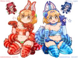>:3 4girls :3 :d alternate_costume animal_ears blue_eyes blue_hair breasts brown_eyes brown_hair chibi claws cleavage commentary_request cosplay elbow_gloves gloves gradient_hair jewelry kemono_friends looking_at_viewer multicolored_hair multiple_girls navel necklace open_mouth paw_pose red_hair seiza serval_(kemono_friends) serval_ears serval_print serval_tail shisa_lefty shisa_lefty_(cosplay) shisa_right shisa_right_(cospaly) short_hair simple_background sitting smile tail tanaka_kusao thighhighs white_background