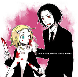 1boy 1girl black_hair blonde_hair blood blue_eyes collared_shirt copyright_name fang formal hair_ornament knife lenore lenore_lynchfast necktie negura_(yamadori) one_eye_closed open_mouth ragamuffin red_eyes simple_background skull suit upper_body weapon white_skin