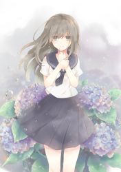 1girl bangs black_skirt blouse crying crying_with_eyes_open eyebrows_visible_through_hair flower green_eyes grey_hair hair_between_eyes hands_up hydrangea long_hair looking_at_viewer millcutto original outdoors parted_lips pleated_skirt rain school_uniform serafuku short_sleeves skirt solo standing tears white_blouse