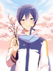 1boy blue_eyes blue_hair blue_nails blush branch cherry_blossoms flower kaito long_coat long_sleeves male_focus nail_polish nokuhashi outdoors petals scarf short_hair sky smile solo tree vocaloid