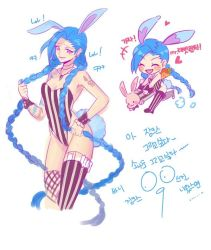 1girl blue_hair braid bunny_ears cleavage jinx_(league_of_legends) league_of_legends long_hair pink_eyes solo tail tattoo thighhighs translation_request twin_braids