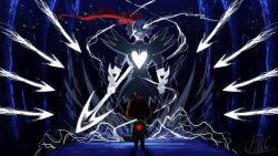 1girl androgynous armor battle bridge brown_hair chara_(undertale) danmaku energy_spear glowing glowing_eyes grin head_fins holding_knife knife pdubbery polearm ponytail red_hair sharp_teeth shirt signature smile spear spoilers striped striped_shirt undertale undyne undyne_the_undying weapon yellow_eyes