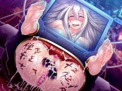 barefoot breasts cum cum_on_feet cum_on_lower_body feet fucked_silly lilith-soft monitor saliva soles taimanin_asagi taimanin_asagi_battle_arena through_wall toes white_hair