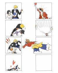 !! 3boys ? bare_chest black_hair black_suit blonde_hair blue_shirt brothers comic denim formal hat heart jacket jeans monkey_d_luffy multiple_boys one_piece open_clothes open_jacket open_mouth pale_face pants portgas_d_ace red_jacket sabo_(one_piece) scar shirt shorts siblings silent_comic smile speed_lines straw_hat tagme waving