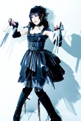 1girl belt boots cosplay dress edward_scissorhands edward_scissorhands_(cosplay) elbow_gloves eyeshadow gloves gothic lipstick long_hair makeup photo scissors skirt solo thighhighs