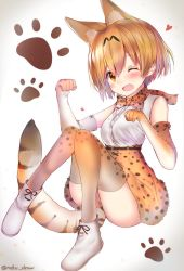 1girl animal_ears animal_print bare_shoulders blonde_hair blush boots bow bowtie breasts elbow_gloves gloves highres kemono_friends knees_together_feet_apart looking_at_viewer neku_(neku_draw) one_eye_closed open_mouth paw_background paw_pose serval_(kemono_friends) serval_ears serval_tail short_hair sitting skirt sleeveless solo tail thighhighs twitter_username yellow_eyes
