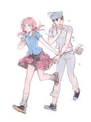 1boy 1girl arm_grab black_eyes blouse blue_eyes box bubble cellphone dixie_cup_hat dumpling eating floral_print food hair_bobbles hair_ornament hat higashikata_jousuke_(jojolion) hirose_yasuho jojo_no_kimyou_na_bouken jojolion midriff military_hat open_mouth pants phone pink_hair reammara running shirt shoes short_hair simple_background skirt smartphone socks tassel white_background