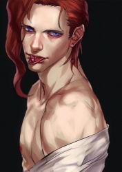 1boy blue_eyes cherry emg_(christain) food fruit jojo_no_kimyou_na_bouken kakyouin_noriaki red_hair solo tongue tongue_out
