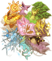 alternate_form bubbles eevee electricity espeon fire flareon glaceon ice jolteon leafeon moon multiple_tails no_humans pokemon sylveon tree umbreon vaporeon