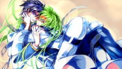 1boy 1girl ass belt black_hair bodysuit c.c. chu_nou code_geass couple green_hair lelouch_lamperouge long_hair long_sleeves looking_at_viewer lying purple_eyes school_uniform short_hair skin_tight smile straitjacket yellow_eyes