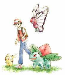 1boy artist_request backpack baseball_cap black_hair butterfree hat ivysaur pikachu pokemon pokemon_(game) pokemon_rgby red_(pokemon) red_(pokemon)_(classic)