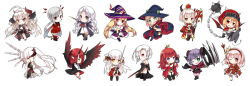 6+girls ball_and_chain blonde_hair borrowed_character chibi eyes_closed green_eyes grin hat long_hair looking_at_viewer multiple_girls one_eye_closed original pink_eyes pink_hair pixiv_fantasia pixiv_fantasia_fallen_kings pointy_ears purple_eyes purple_hair red_eyes red_hair saru short_hair simple_background skirt smile sword weapon white_background white_hair wings witch_hat