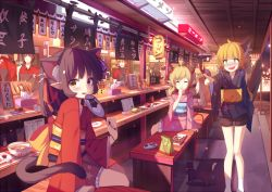 4boys 4girls ahoge animal_ears bench blonde_hair blush book bowl brown_eyes brown_hair cat cat_ears demon_tail drink drinking_straw eyes_closed fan fang food fox_ears fox_tail hair_ornament hair_ribbon hand_to_own_mouth headband holding horns japanese_clothes kimono knees_together_feet_apart lantern long_hair low_twintails mask mask_removed menu multiple_boys multiple_girls noodles nose_blush obi open_mouth original paper_lantern pointing pointy_ears ponytail ramen ribbon rizky_(strated) sash short_kimono shorts sitting slit_pupils socks standing tail thigh_gap tissue_box twintails uniform wavy_mouth white_legwear yellow_eyes yukata