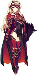 1girl armor armored_boots belt blonde_hair blue_eyes blush boots breastplate full_body gauntlets highres holding holding_weapon kawata_hisashi kusugawa_sasara long_hair looking_at_viewer pauldrons pelvic_curtain shield solo standing sword thighhighs to_heart_2 to_heart_2_dungeon_travelers transparent_background weapon