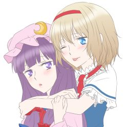 2girls alice_margatroid blonde_hair blue_eyes blush bust capelet crescent hair_ribbon hairband hat hug hug_from_behind long_hair multiple_girls one_eye_closed open_mouth patchouli_knowledge purple_eyes purple_hair ribbon short_hair smile tongue tongue_out touhou udon_(shiratama)