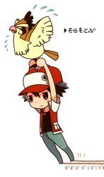 1boy flying pidgey pokemon red_(pokemon)