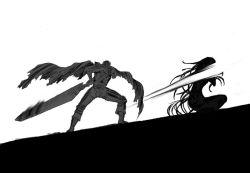1boy 1girl berserk crossover dragonslayer_(sword) elsa_maria_(madoka_magica) guts huge_weapon long_hair mahou_shoujo_madoka_magica monochrome nemo_(nameless920) simple_background sword weapon witch_(madoka_magica)