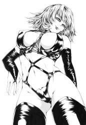1girl bdsm between_breasts braid breasts bridal_gauntlets bridal_gloves calligraphy_pen_(medium) dominatrix eyelashes harness hasebe_(model21) highres izayoi_sakuya large_breasts latex lips looking_at_viewer looking_down millipen_(medium) monochrome monocrhome nib_pen_(medium) scan short_hair side_braid simple_background skin_tight smile solo thighhighs touhou traditional_media twin_braids white_background