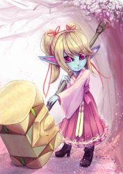 1girl alternate_costume blonde_hair blue_skin cherry_blossoms dress hammer high_heels league_of_legends menyuu petals pink_dress pointy_ears poppy purple_eyes shoes smile solo twintails warhammer weapon yordle