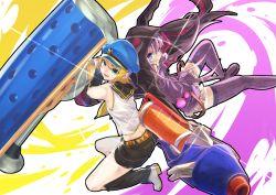 2girls artist_request blue_eyes crossover hood hoodie kagamine_rin long_hair multiple_girls purple_hair splatoon vocaloid yuzuki_yukari