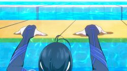 1girl animated animated_gif ass back kaminashi_nozomi keijo!!!!!!!! solo suit tight water