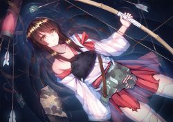 1girl akagi_(kantai_collection) amemaku arrow bow_(weapon) brown_eyes brown_hair collarbone damaged floating japanese_clothes kantai_collection long_hair muneate partially_submerged ripples solo thighhighs torn_clothes water weapon