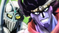 2boys armor black_hair blue_eyes face jojo_no_kimyou_na_bouken looking_at_viewer male_focus multiple_boys no_ears no_humans nose rapier scarf shoulder_pads silver_chariot stand_(jojo) star_platinum yellow_eyes
