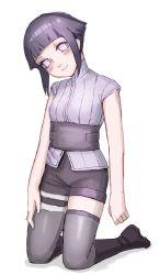 1girl alternate_costume blush hyuuga_hinata kneeling lavender_eyes looking_at_viewer naruto naruto:_the_last purple_hair short_hair short_shorts sleeveless solo supermoichan thigh_boots thighhighs time_paradox younger